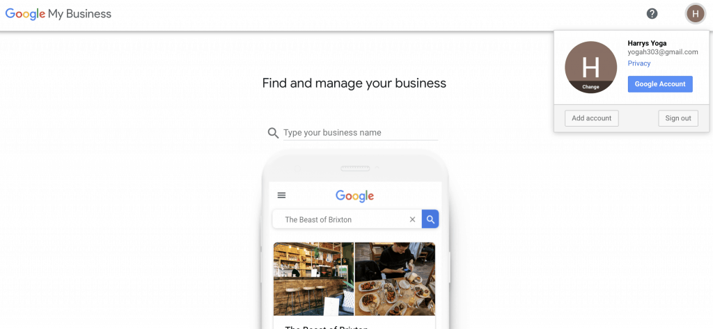 Google my business first screen to search for local business