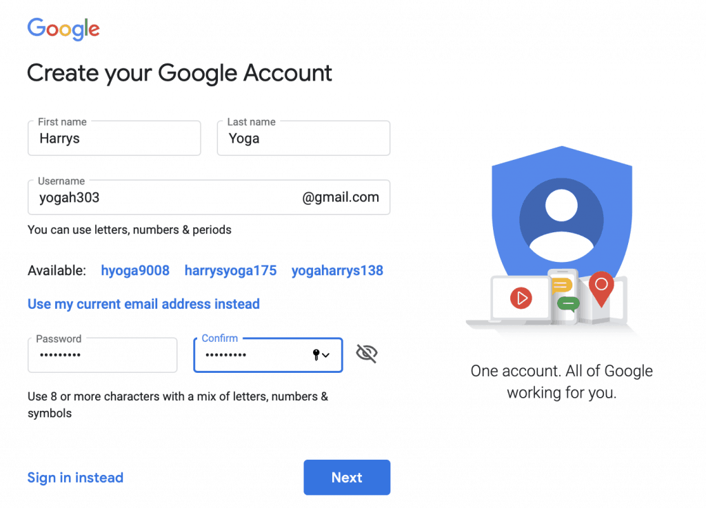 Creating Google account for Yoga studio - step 1