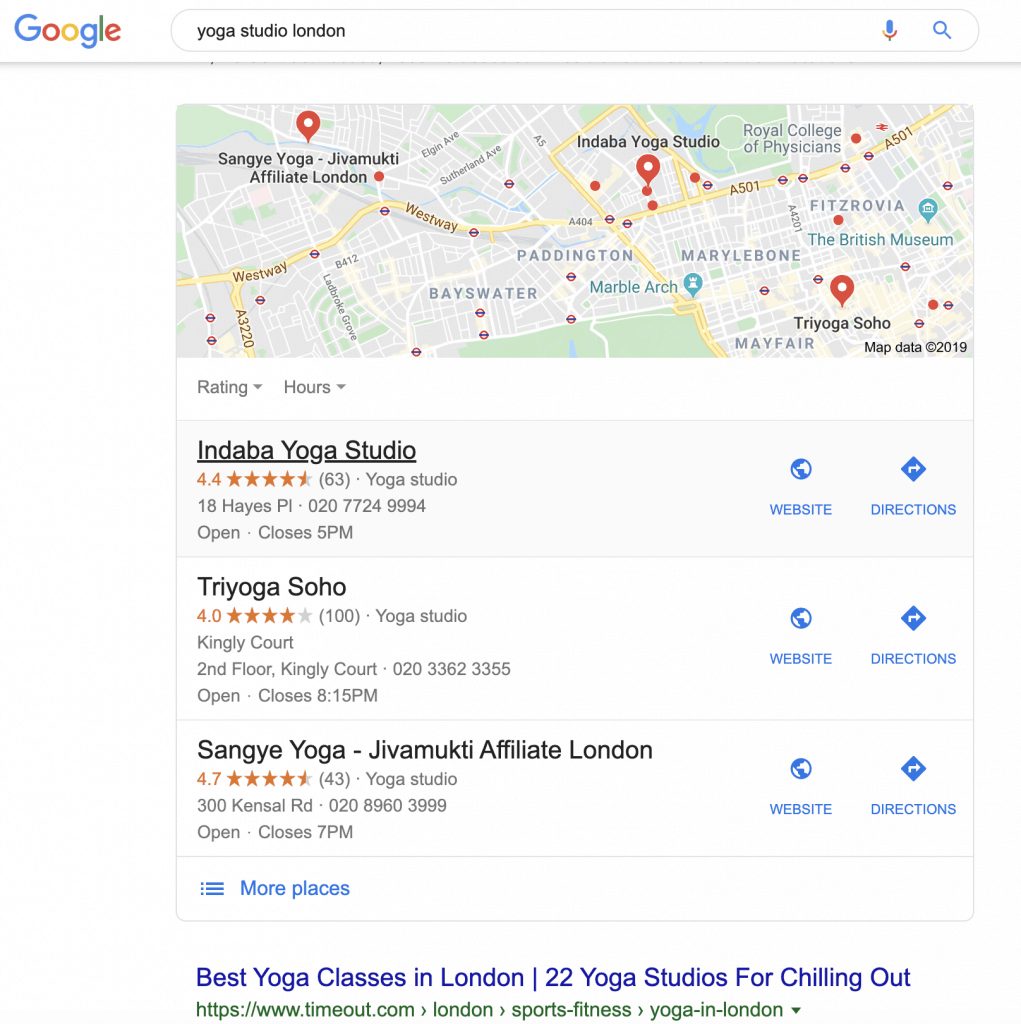 Showing what Google maps listing looks like
