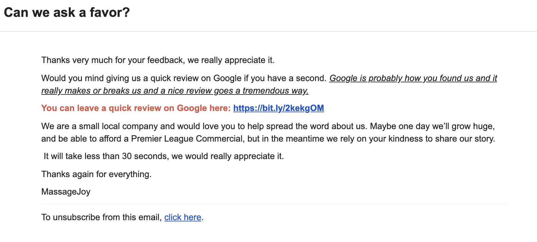 Email template asking customer to write a review on Google