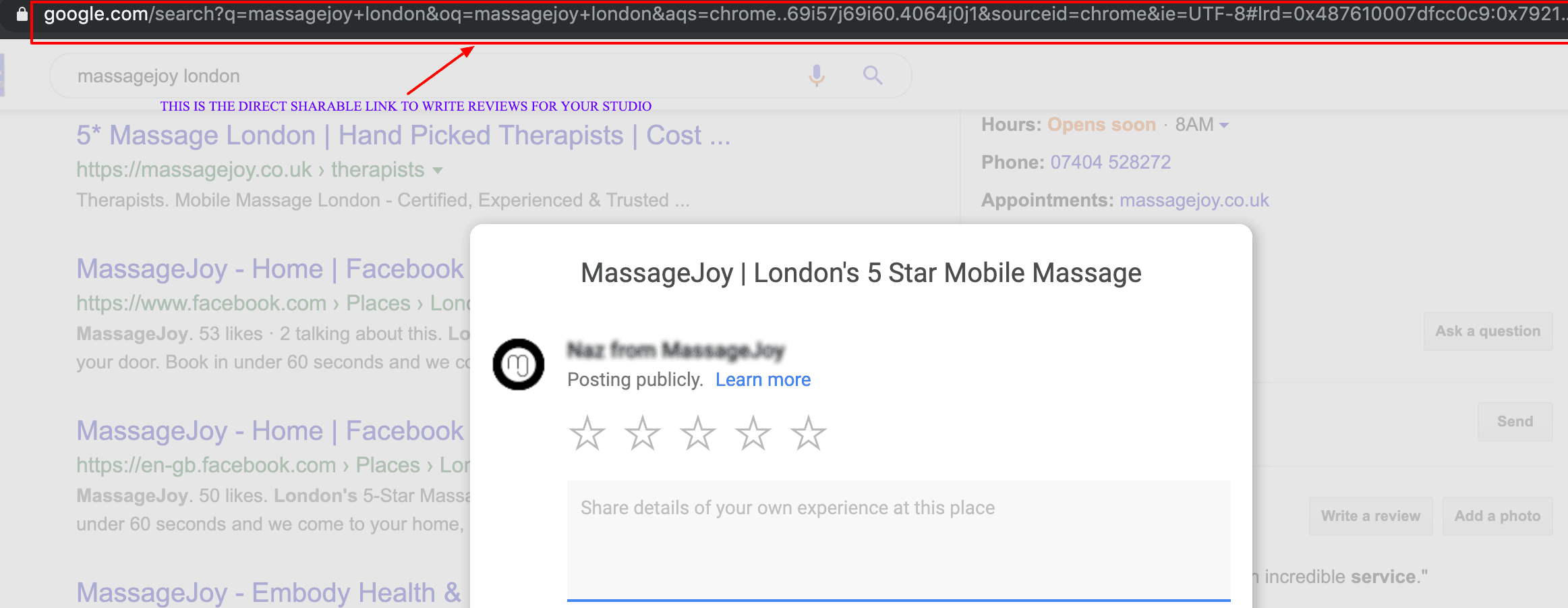 Sharable link for google reviews