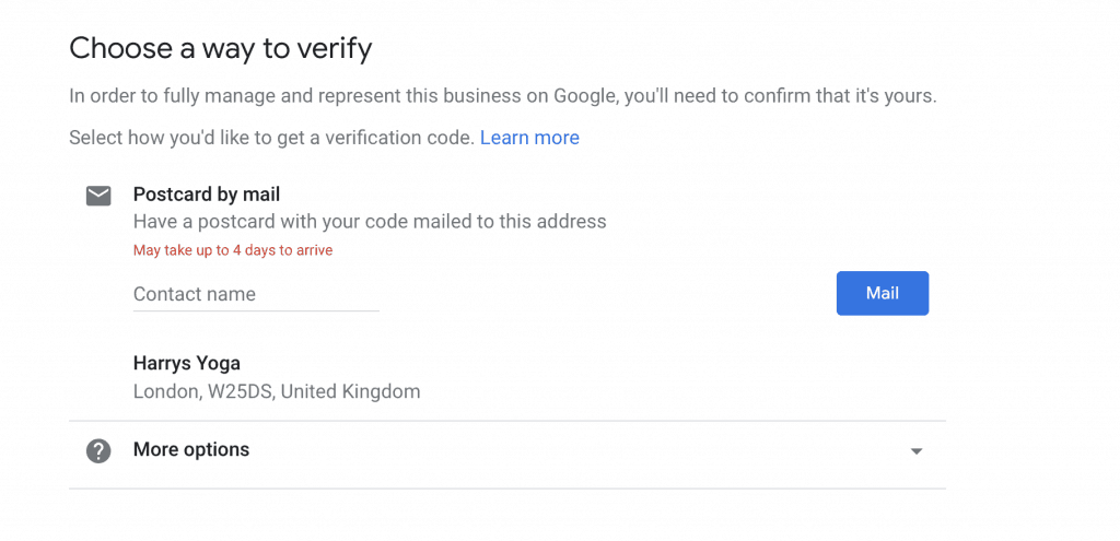 Google my business listing verification by post