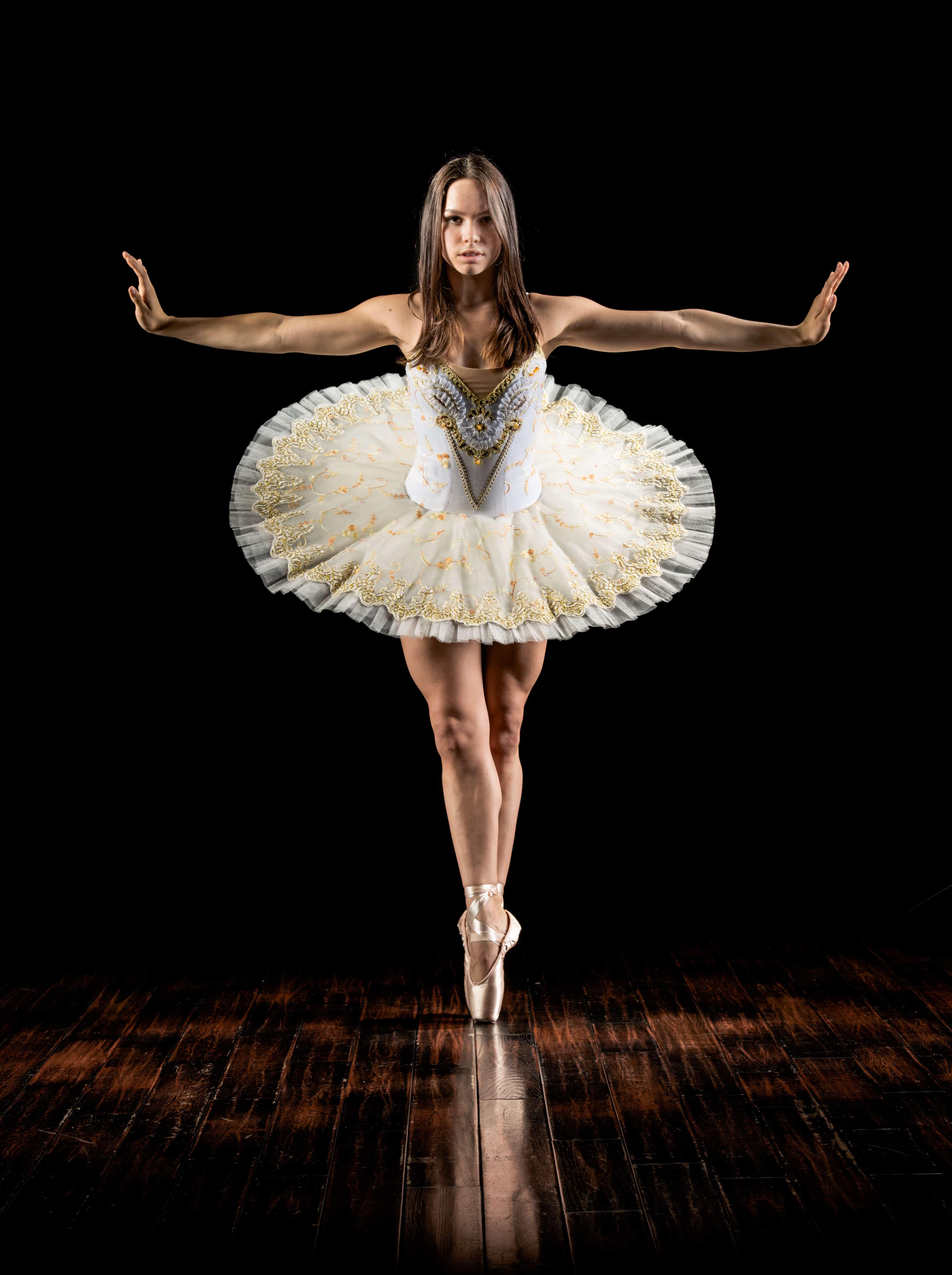 Woman dancing in dance studio