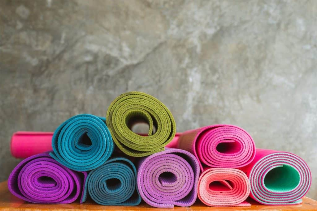 clean yoga mats in yoga studio
