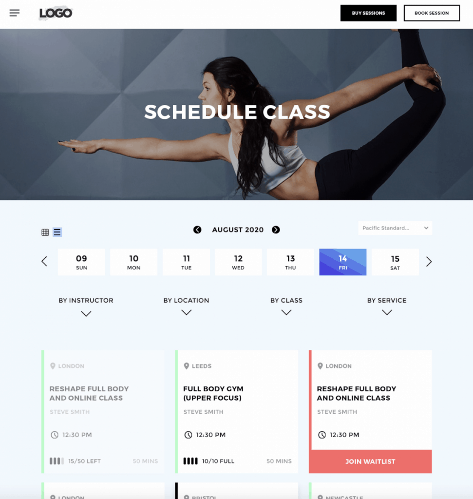 Yoga studio scheduling software
